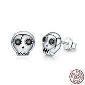 耳環 925純銀-鑲鑽個性骷髏頭酷炫精選女飾品73oh44【時尚巴黎】