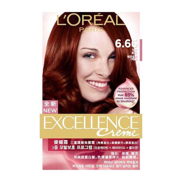 巴黎萊雅  L Oreal 新版優媚霜三重護髮染髮霜 #6.66 紅色(148g)