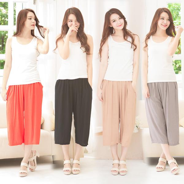 絲光輕柔寬褲(4件組)