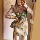 法式高端輕奢名媛假兩件長袖連衣裙春秋裝2020年新款女收腰瘦氣質