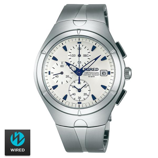 WIRED SEIKO副牌特殊稜角中性白面藍針三眼鋼錶41mm AF8U25X1 7T92-X272S ...
