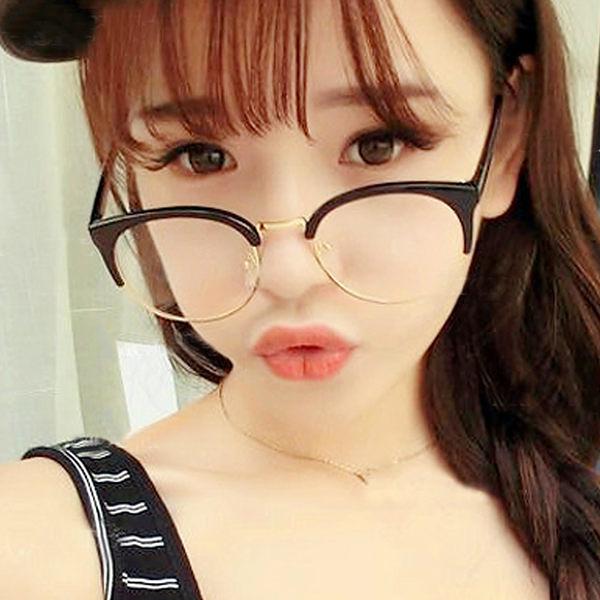 眼鏡 復古文青金屬半框眼鏡【O2922】☆雙兒網☆
