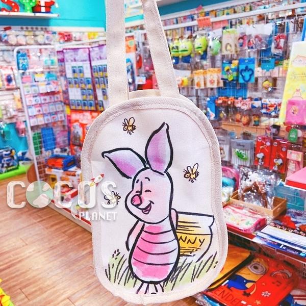 正版 迪士尼 小熊維尼 維尼熊 帆布手提袋 飲料提袋 收納袋 購物袋 小豬款 COCOS DK280