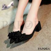 PAPORA立體蝴蝶尖頭穆勒鞋KV235黑/灰(偏小)
