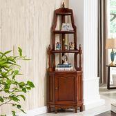 復古做舊美式角落櫃 床頭櫃 書櫃 櫥櫃 展示櫃 公仔櫃 模型櫃浴室收納櫃置物架xc