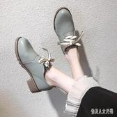 時尚復古小皮鞋女職業鞋2019秋季新款粗跟百搭英倫風中跟單鞋 yu7520『俏美人大尺碼』