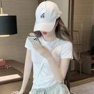 【Charm Beauty】白色短袖t恤 女夏季 2021年 新款 顯瘦 百搭 韓版 修身 短款 上衣 ins潮網紅