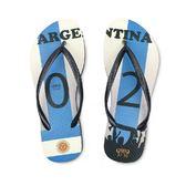 QWQ創意鞋-  世界盃足球紀念鞋 阿根廷 細帶女款天然橡膠人字拖
