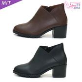 短靴MIT側邊小V開口中跟短靴.黑/咖【鞋鞋俱樂部】【024-CM5631】