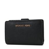 美國正品 MICHAEL KORS 玫瑰金字LOGO素面防刮皮革釦式中夾-黑色【現貨】