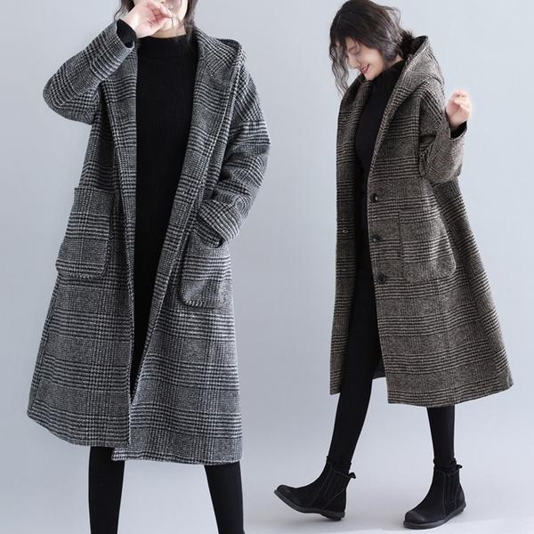 【A4610】千鳥格連帽針織長版外套 L-2XL
