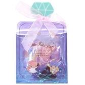 小禮堂 雙子星 條狀保濕護手霜 附方巾 香氛護手乳 手帕 透明盒裝 (紫 香水瓶) 4930972-50845