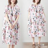 長裙 洋裝 微mm大尺碼 女裝民族風夏季新款棉麻寬鬆印花短袖連衣裙遮肚子顯瘦