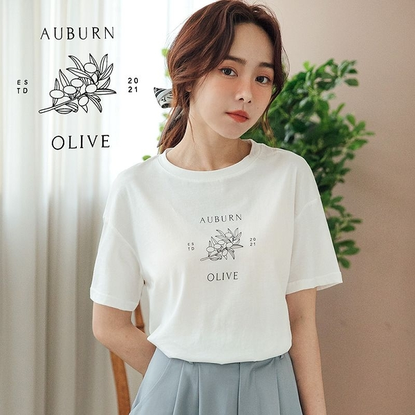 MIUSTAR OLIVE橄欖枝棉質上衣(共2色)【NJ1207】預購