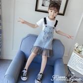 女童夏裝短袖套裝牛仔背帶連身裙子薄新款洋氣時髦兒童中大潮 中秋節全館免運
