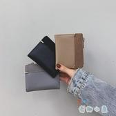 小錢包女短款韓版簡約撞色拉鏈搭扣折疊零錢夾【奇趣小屋】