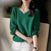 V領針織衫女上衣秋季韓版簡約V領毛衣衫女純色內搭短款寬松長袖針織打底衫T19依佳衣