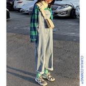 吊帶褲秋冬季新款韓版寬鬆減齡工裝牛仔吊帶褲女顯瘦連體褲闊腿長褲