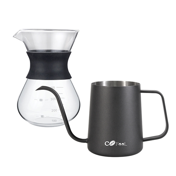 CoFeel 凱飛玻璃濾杯咖啡壺400ml+不鏽鋼咖啡手沖壺細嘴壺600ml【MF0502+MF0486】(SF0183S)