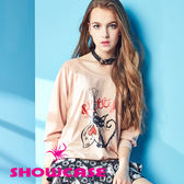 【SHOWCASE】貓咪圖案V美背寬版T恤/上衣(粉)