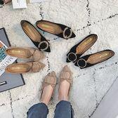 樂福豆豆鞋春季新款韓版女單鞋尖頭V口一腳蹬豆豆鞋軟底水鑚扣淺口平底 伊韓時尚