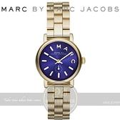 【南紡購物中心】MARC BY MARC JACOBS國際精品Baker經典復古小秒針腕錶-金/寶藍/28mm MBM3346