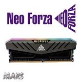 【綠蔭-免運】Neo Forza 凌航 Mars DDR4 3600 16GB(8G*2) RGB LED燈 超頻記憶體(灰色散熱片)