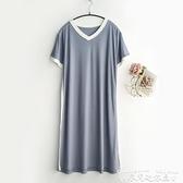 睡裙簡約系~珠家美緒撞色短袖睡裙女士夏季薄款莫代爾暗紋家居服睡衣 迷你屋 新品