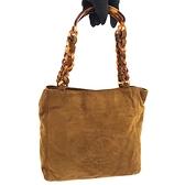 【奢華時尚】CHANEL 摩卡色麂皮大雙C肩背復古玳瑁包(八五成新)#24643