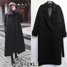 【QV3263】魔衣子-時尚單排釦毛呢長大衣外套