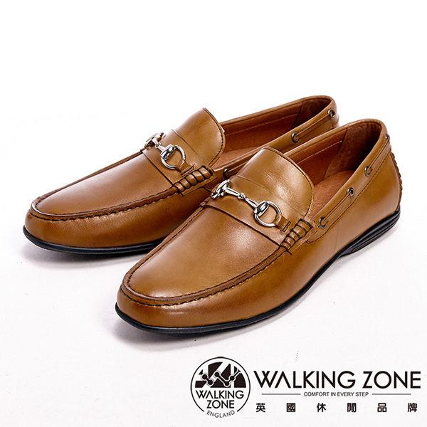 【WALKING ZONE】真皮氣墊感雅痞風休閒男皮鞋-棕(另有黑)