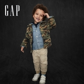 Gap男幼童 淺色水洗翻領牛仔長袖襯衫 622413-水洗藍