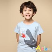 Azio 男童 上衣 可愛鯨魚吃小魚印花短袖上衣(藍) Azio Kids 美國派 童裝