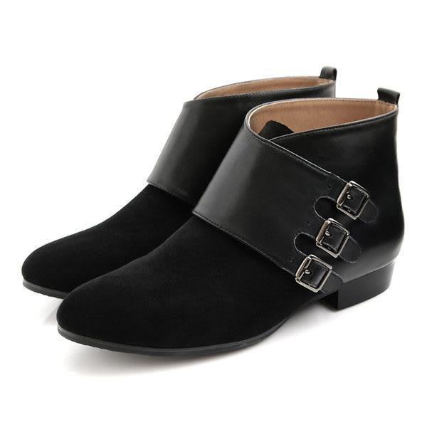 全真皮三環側皮帶飾釦短靴-黑色‧MIT台灣製‧karine