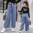 女童牛仔寬管褲20新款春秋裝褲子洋氣寬鬆中大童兒童秋款時髦長褲  【端午節特惠】
