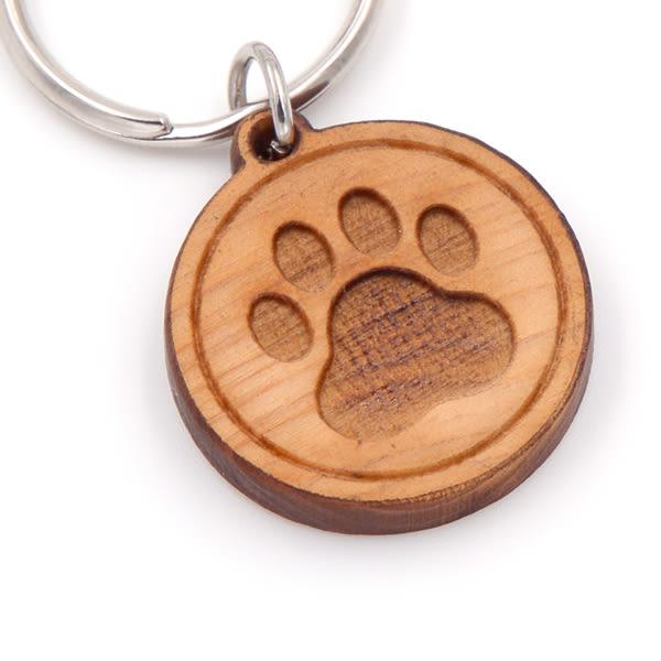 客製化台灣檜木寵物防走失吊牌-腳印款|寵物名牌辨識項圈,電話鎖圈能直接以客製資訊聯絡主人
