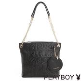 PLAYBOY- 2WAY鍊帶肩背包 Fashion Brand 時尚烙印系列-時尚黑