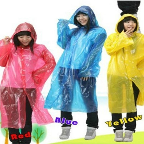 [協貿國際]成人一次性雨衣加厚紐扣透明雨衣1入
