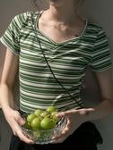 EGGKA條紋冰絲針織短袖T恤女夏季2020新款修身顯瘦短款上衣韓版