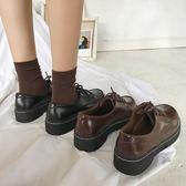 小皮鞋女復古潮英倫新款冬黑色chic百搭ulzzang加絨棉鞋女  夢想生活家