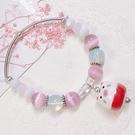 獨家設計 俏皮小豬貓眼石水晶串珠手環 手鍊