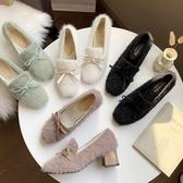 白色高跟鞋女冬2019新款一腳蹬毛毛鞋粗跟外穿百搭網紅加絨豆豆鞋