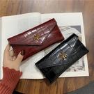 長夾 錢包女長款新款潮簡約折疊錢夾多卡位子母包石頭紋手拿包 - 雙十二交換禮物