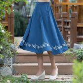 夏季新款漢元素民族風女裝古風刺繡復古鬆緊腰半身裙