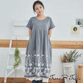 【Tiara Tiara】百貨同步 下擺繡花短袖寬版洋裝(藍/灰)