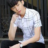 短袖襯衫男 韓版男裝上衣 夏季男士修身格子棉料襯衣休閒格紋襯衫cs204