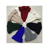 毛帽 素色 尖尖帽 簡約 反摺 針織帽【QI1797】  icoca