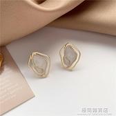 S925銀針 韓國氣質簡約幾何貝殼耳釘百搭冷淡風耳環女耳夾B516 極簡雜貨