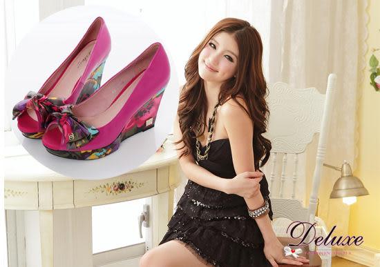 Deluxe-高質感羊皮激瘦厚底楔型跟鞋-桃