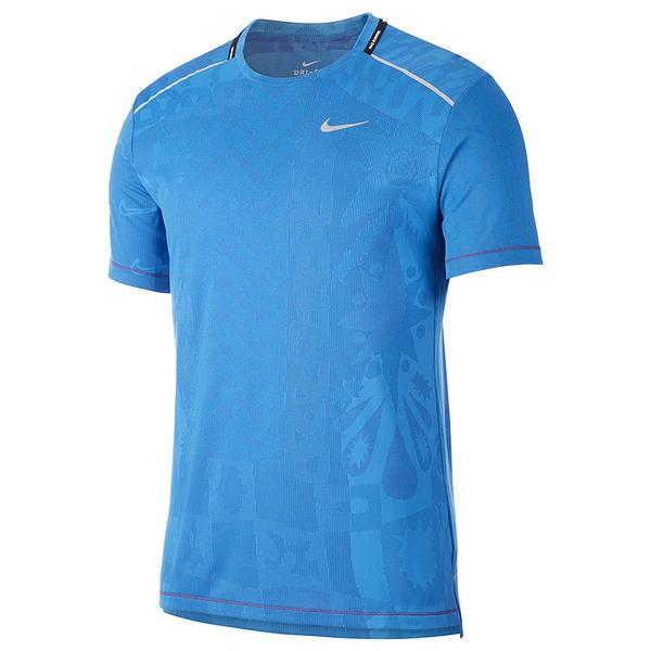Nike TechKnit Wild Run 男裝 短袖 慢跑 訓練 排汗 透氣 印花 藍【運動世界】CJ5815-521